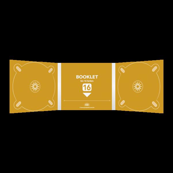 Digipack 6-seitig   2 CD-Trays (links & rechts) + 1 Booklet-Schlitz (mitte) für bis zu 16-seitiges Booklet