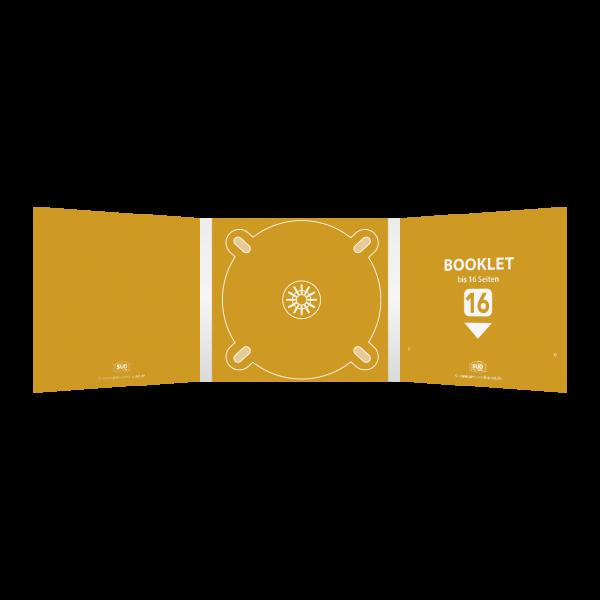 Digipack 6-seitig | 1 CD-Tray (mitte) + 1 Booklet-Schlitz (rechts) für bis zu 16-seitiges Booklet