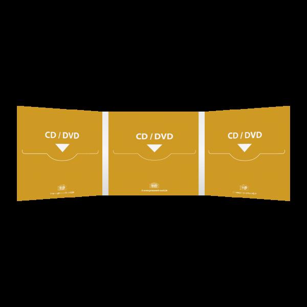 Digifile 6-seitig | 3 CD-Schlitz links, mitte & rechts (für 3 CDs oder DVDs)