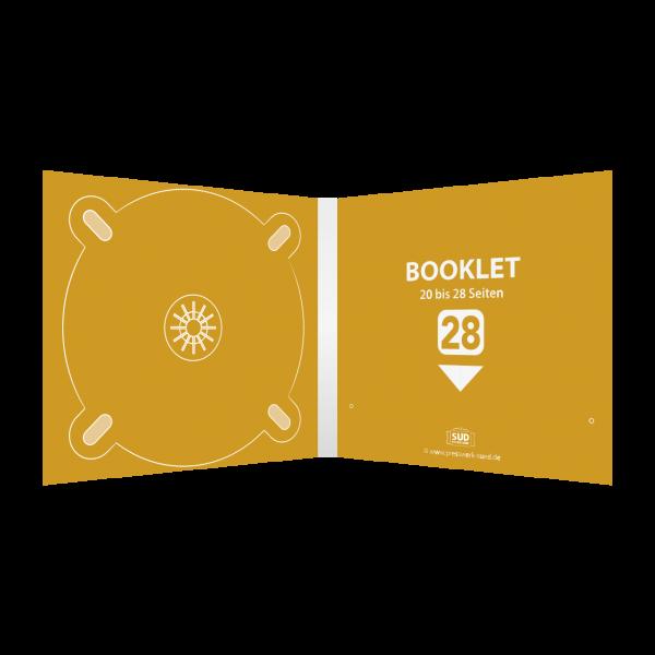 Digipack 4-seitig   1 CD-Tray (links) + 1 Booklet-Schlitz (rechts) für 20-28-seitiges Booklet