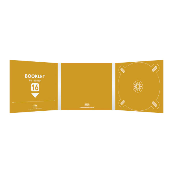 Digipack 6-seitig | 1 CD-Tray (rechts) + 1 Booklet-Schlitz (links) für bis zu 16-seitiges Booklet