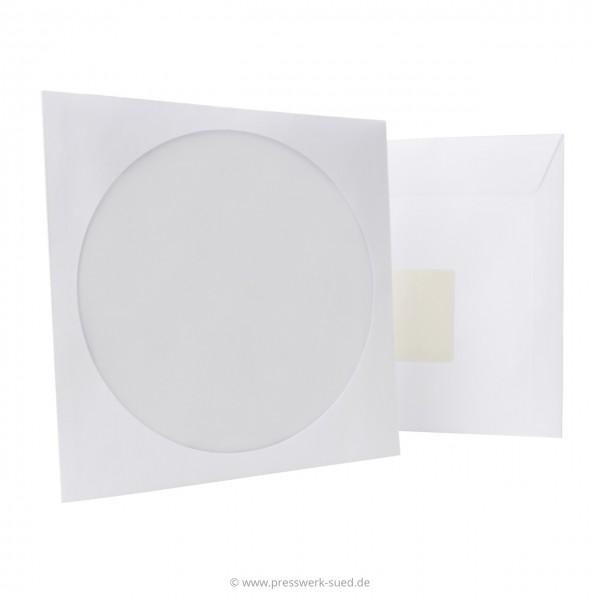 Papierfenstertasche mit selbstklebender Lasche und rückseitigem Klebepunkt