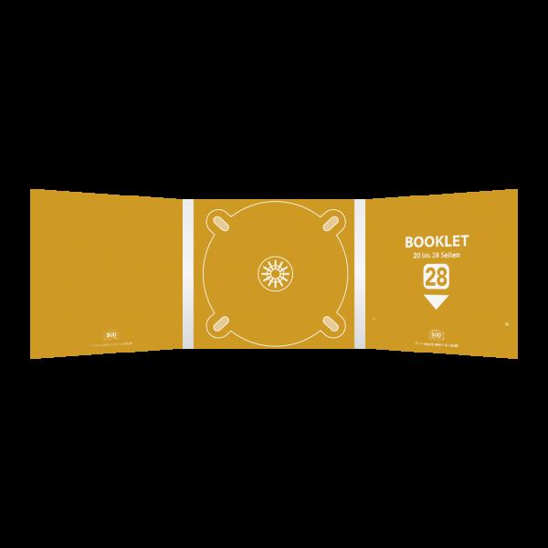 Digipack 6-seitig | 1 CD-Tray (mitte) + 1 Booklet-Schlitz (rechts) für 20 bis 28-seitiges Booklet