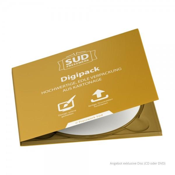 Digipack 4-seitig | 1 CD-Tray (rechts) für CD oder DVD - farbig bedruckt (Beispiel)
