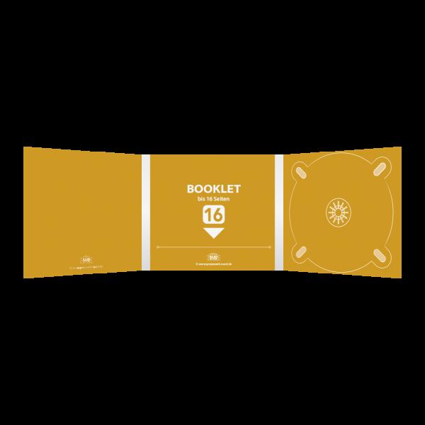 Digipack 6-seitig | 1 CD-Tray (rechts) + 1 Booklet-Schlitz (mitte) für bis zu 16-seitiges Booklet