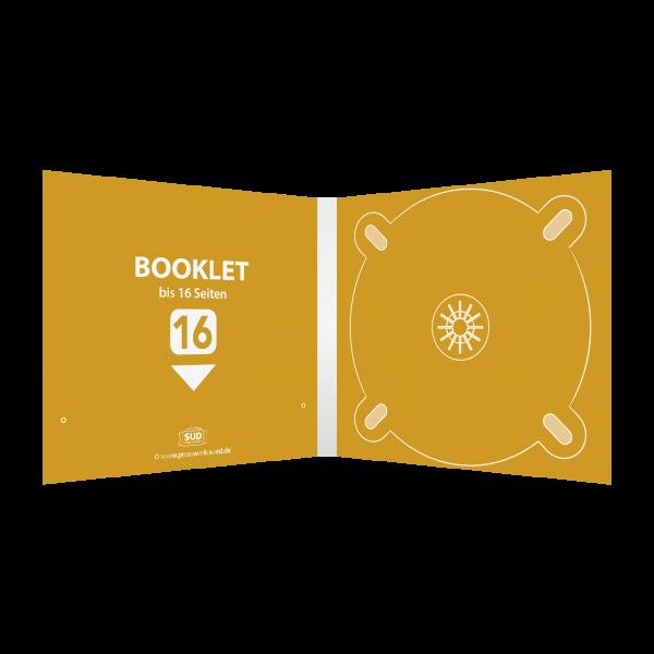 Digipack 4-seitig | 1 CD-Tray (rechts) + 1 Booklet-Schlitz (links) für bis zu 16-seitiges Booklet