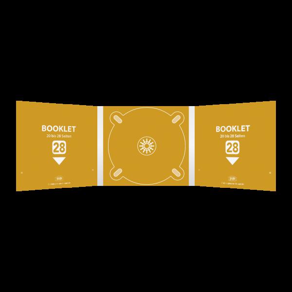 Digipack 6-seitig | 1 CD-Tray (mitte) + 2 Booklet-Schlitze (links & rechts) für 20 bis 28-seitiges Booklet