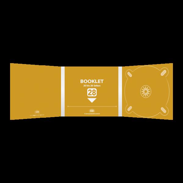 Digipack 6-seitig | 1 CD-Tray (rechts) + 1 Booklet-Schlitz (mitte) für 20-28-seitiges Booklet