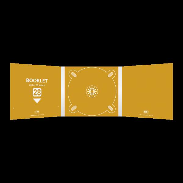 Digipack 6-seitig | 1 CD-Tray (mitte) + 1 Booklet-Schlitz (links) für 20 bis 28-seitiges Booklet