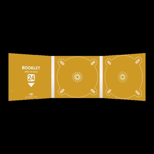 Digipack 6-seitig | 2 CD-Trays (mitte & rechts) + 1 Booklet-Schlitz (links) für 20 bis 28-seitiges Booklet