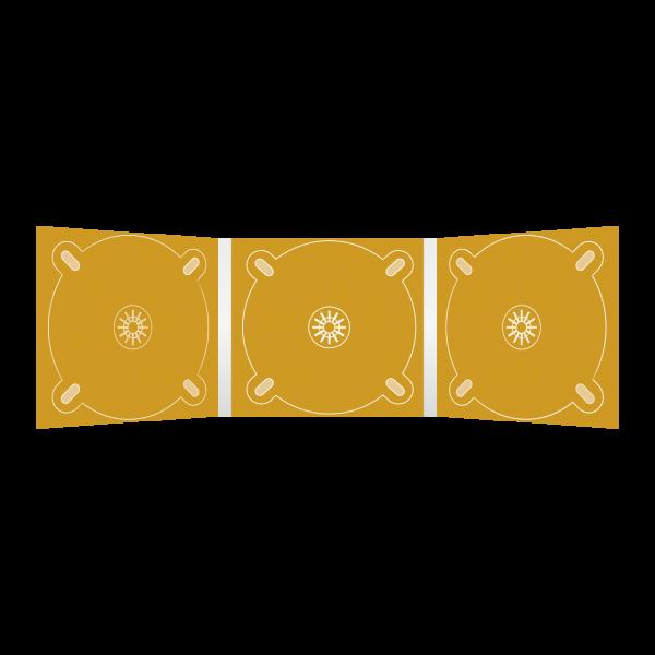 Digipack 6-seitig | 3 CD-Trays (links, mitte & rechts) für CD oder DVD